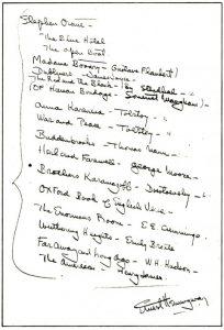 Lista de cărți dată de Ernest Hemingway lui Arnold Samuelson